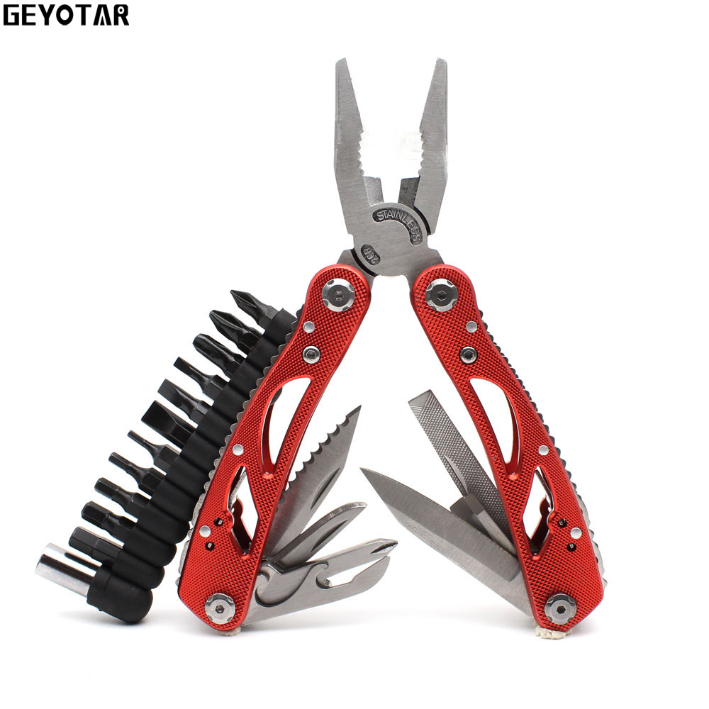 Outdoor Multitool Pliers Repair Pocket Knife Fold Screwdriver set Fishing Survival Portable Pocket Multi EDC Hand Tools DIY new arrival silver color multitool pliers replaceable jaw design multitool combination pliers sheath screw