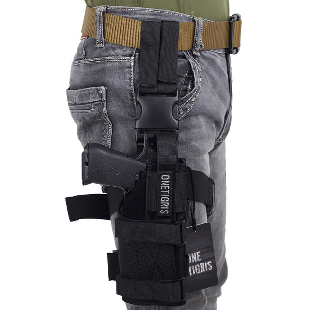 OneTigris Tactical Molle Drop Leg Platform & Handgun Pistol Holster Airsoft Paintball Right Handed Holster 2