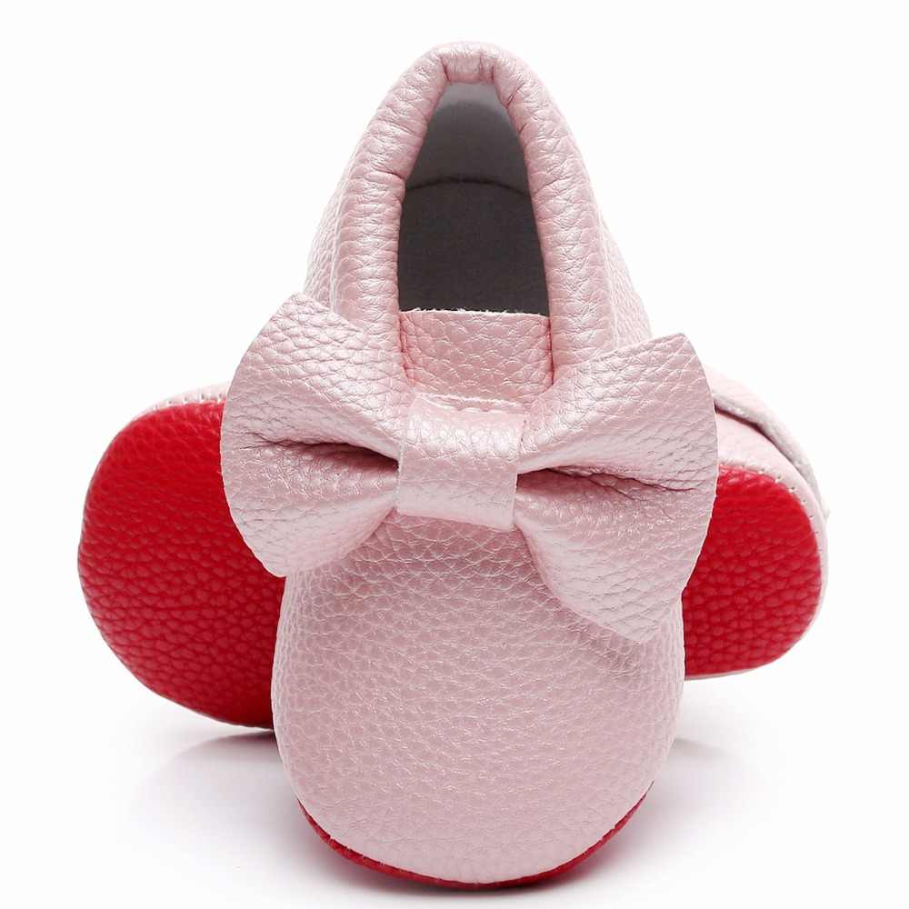 866a41c03ad Red sole Newborn Baby Girl Boy Baby Moccasins PU Leather Soft Moccs Shoes  Bow-tie