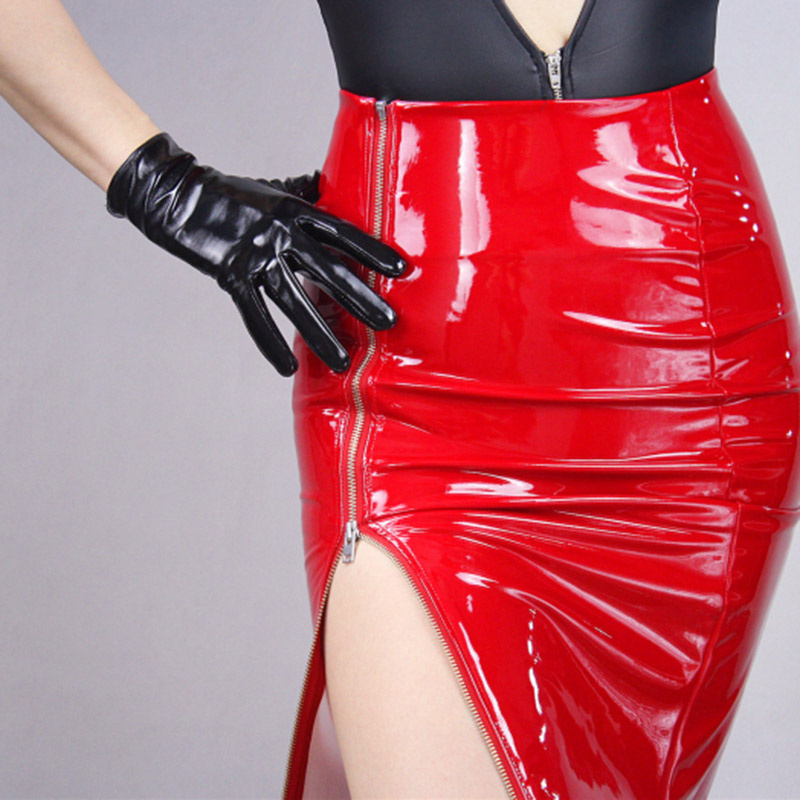 Patent Leather Black Short Ladies Gloves Fashion Simulation Leather 21cm Unlined Patent Leather Red Finger Gloves TB34 in Women 39 s Gloves from Apparel Accessories