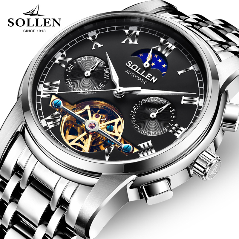 Luxury Brand SOLLEN Mechanical Watch Multi-functional Mens Watches Tourbillon Stainless Steel Wristwatch Reloj Hombre Top Clock mens watches top brand luxury automatic mechanical tourbillon watch men luminous stainless steel wristwatch montre homme