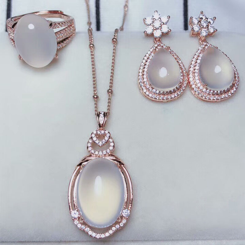 Yu Xin Yuan Fine Jewelry Natural 925 silver Chalcedony jewelry sets necklace earrings ring for women party jewelry