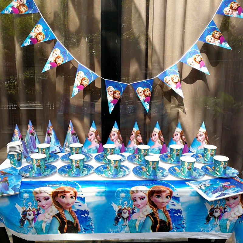 91pcs sets Elsa Anna Tableware Kid Birthday Party Decoration supplies Table Cloth Cup Paper plate Napkin Flag hat Cap Straw