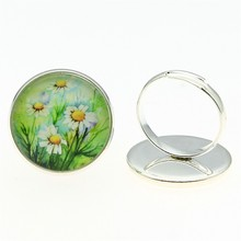 Adjustable Rings Daisy Flower 20mm Round Glass Cabochon Handmade For Women 2 Colors Vintage Jewelry