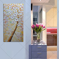 wholesale Hand Painted Textured Palette Knife Flower tree Oil Painting Abstract Modern Canvas Wall Art Living Room Decor Picture