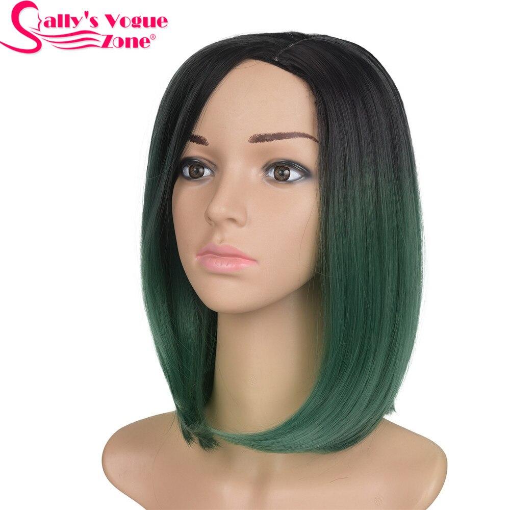 Sallyhair Высокотемпературный синтетический короткий Ombre Черный Изумрудно-зеленый Цвет Прямой парик Боб
