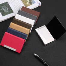 Wholesale Men Card Holder PU Leather Bank Name Business Card Case Classic Style Handy Card Box High Quality Credit Card Holder business style pu aluminum alloy name card holder case silver brown