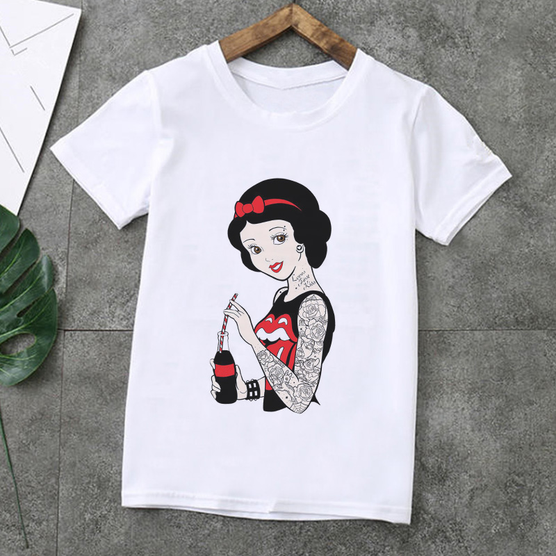 New Arrival Vogue Girls Tshirt Funny Spoof Princess Print T Shirt Girl Teen Clothes White Round Neck Short Sleeve Boys T Shirts