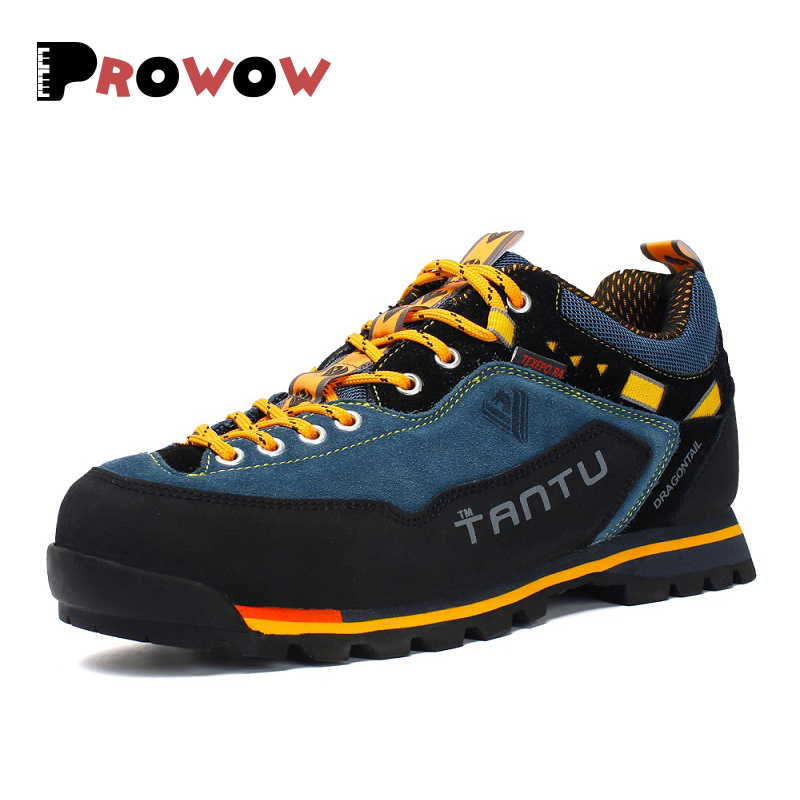 2019 Hot Sale Men Hiking Boots Shoes Genuine Leather Sneakers Men Waterproof Outdoor Mountain Climbing Shoes Men Big Size 39-46