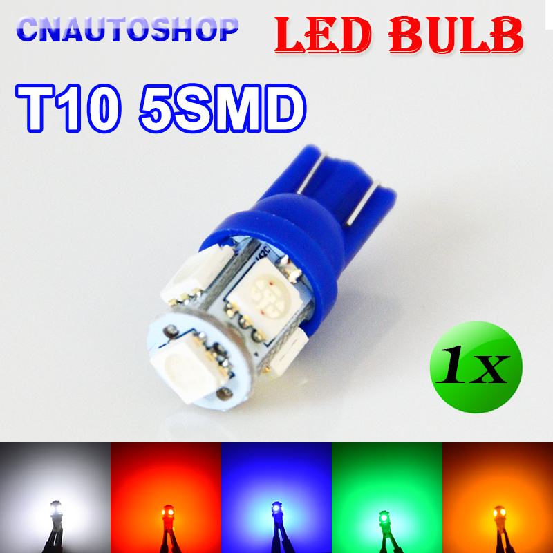 Flytop 1 X T10 5SMD LED Bulb 168 194 W5W Car Lights 5050 SMD Auto Lamp 12V XENON 5 Colors White/Blue/Red/Yellow/Green 10x t10 5smd dc 12v 1w 5050 5 smd 192 168 194 w5w white blue red green yellow pink xenon led side light wedge bulb lamp for car
