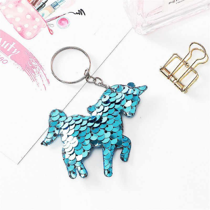 1 шт. семицветные светло-голубые двухсторонние Светоотражающие блестки застежка для ключей сумка с единорогом шнурок для ключей плюшевый брелок