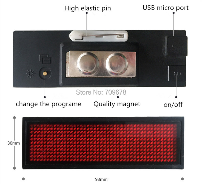 2017 High Quality LYSONLED HD-NT44R Red Color Scrolling Message Led Name Badge , 44x11 Dots Rechargeable Led Name Tag For Event