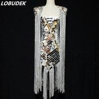 Ручной пошив серебряные зеркала наплечный знак кистями платье женское хост роскошное платье для выступлений на сцене для певцов в ночном к