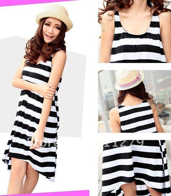 FreeShipping!5pcs/lot Loose Stripe Dress,Sexy Dress, Holiday Beach Dress, Casual Women's Skirt,Short in Front&Long In Back