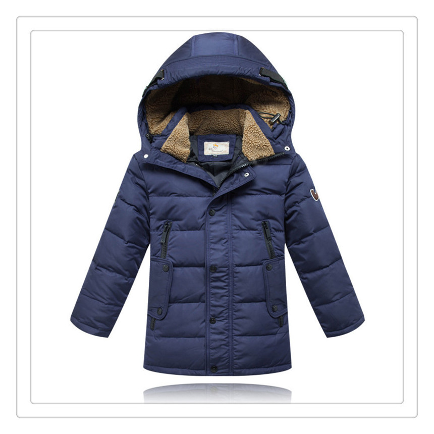 ФОТО children jackets fashion 2017 new boys thick hoodies parkas warterproof down jacket coat childen winter outerwear 6~16 yeas old