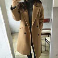 New Thin Wool Blend Coat Women Long Sleeve Turn down Collar Outwear Jacket Casual Autumn Winter Elegant Overcoat cappotto donna