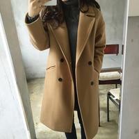 Yeni Ince Yün Karışımı Ceket Kadınlar Uzun Kollu turn aşağı Yaka Dış Giyim Ceket Rahat Sonbahar Kış Zarif Palto cappotto donna|Yün ve Karışımları|Kadın Giyim -