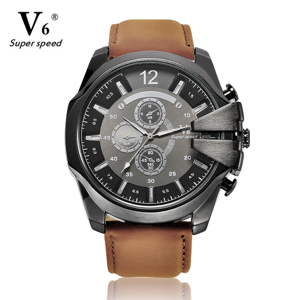 V6 brand Men sports watch cowboy watch  analog quartz watch leather fashion military watch gift  boyfriend  relogio masculino как купить ракуты в css
