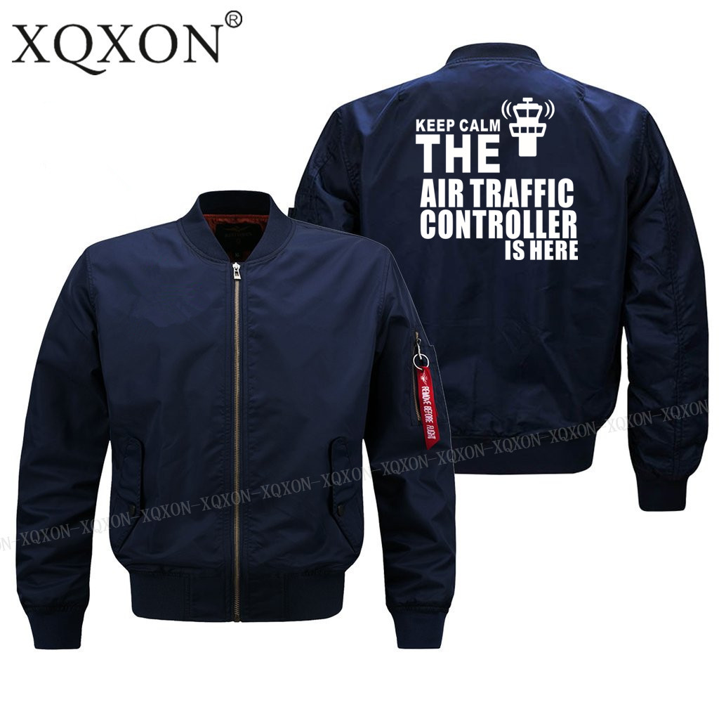 XQXON-new Man Keep Calm The Air Traffic Controller Is Here Print Pilot Jacket Men Coats Jackets (Customizable) Top J87