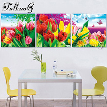 FULLCANG 3 piece diy diamond embroidery tulip flower triptych painting full square/round drill 5d mosaic pattern art decor FC662