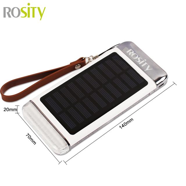 Descolorir rosity carregador solar 10000 mah banco de potência powerbank três-resistência queda de usb portátil bateria externa para o smartphone