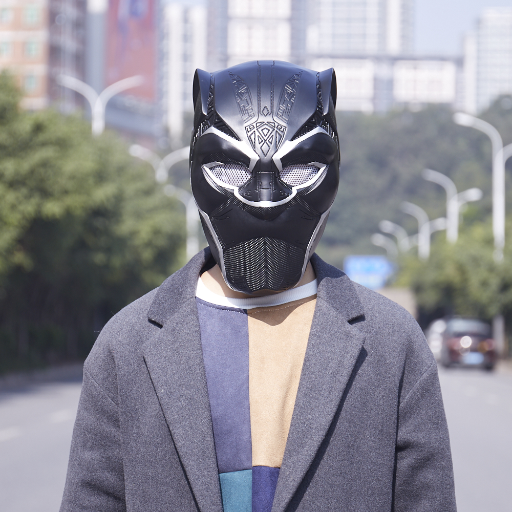 MANLUYUNXIAO New Arrival Men Full Face Black Panther Cosplay Mask Men's PVC Party Mask for Halloween Free Shipping