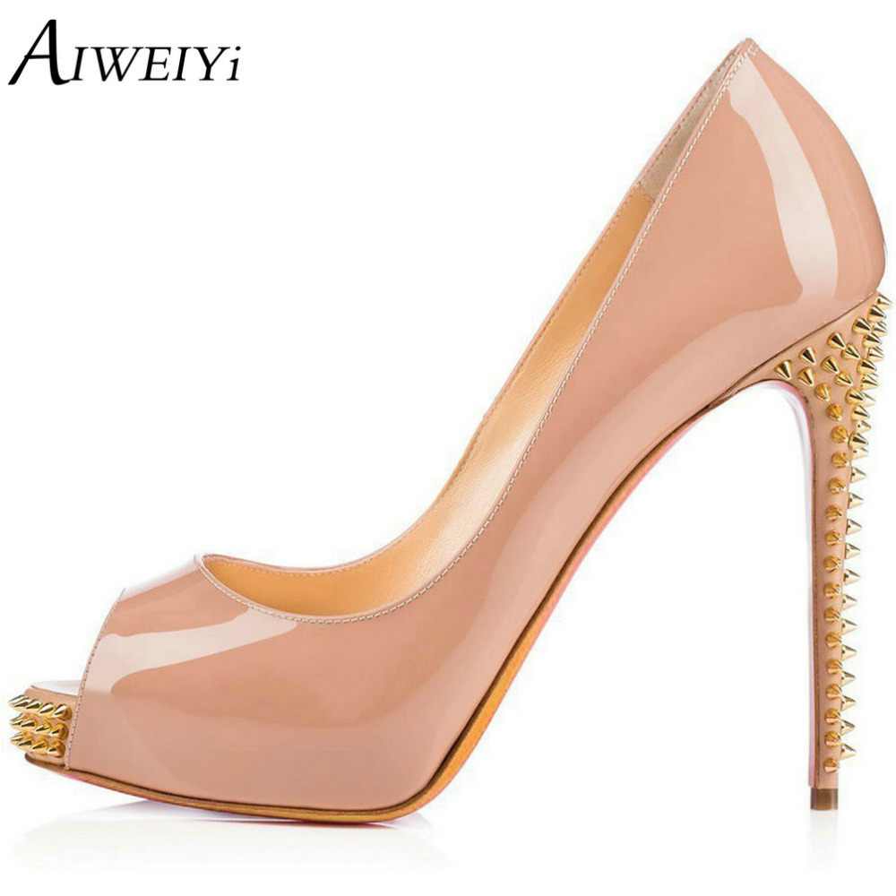 AIWEIYi Women's Shoes Solid Big Size Stiletto High Heels Sexy Peep Toe Pumps With Rivets Platform Wedding Shoes Zapatos Mujer apoepo brand 2017 zapatos mujer black and red shoes women peep toe pumps sexy high heels shoes women s platform pumps size 43