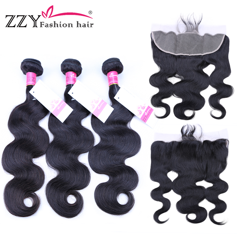 ZZY Fashion Hair Peruvian Body Wave Human Hair Bundles With Lace Frontal Closure 3 Bundles with Lace Frontal