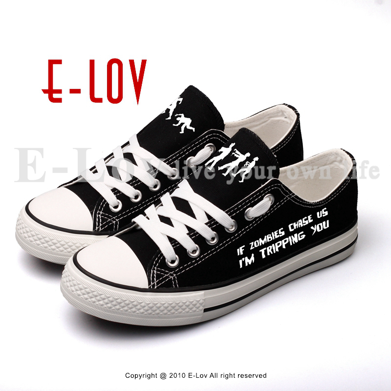 E-LOV Fashion Design Doomsday Zombies Printed Canvas Shoes Low Top Black Women Girls Espadrilles Casual Shoe Big Size game of thrones casual shoes women house stark winter is coming printed summer style superstar graffiti canvas shoes big size