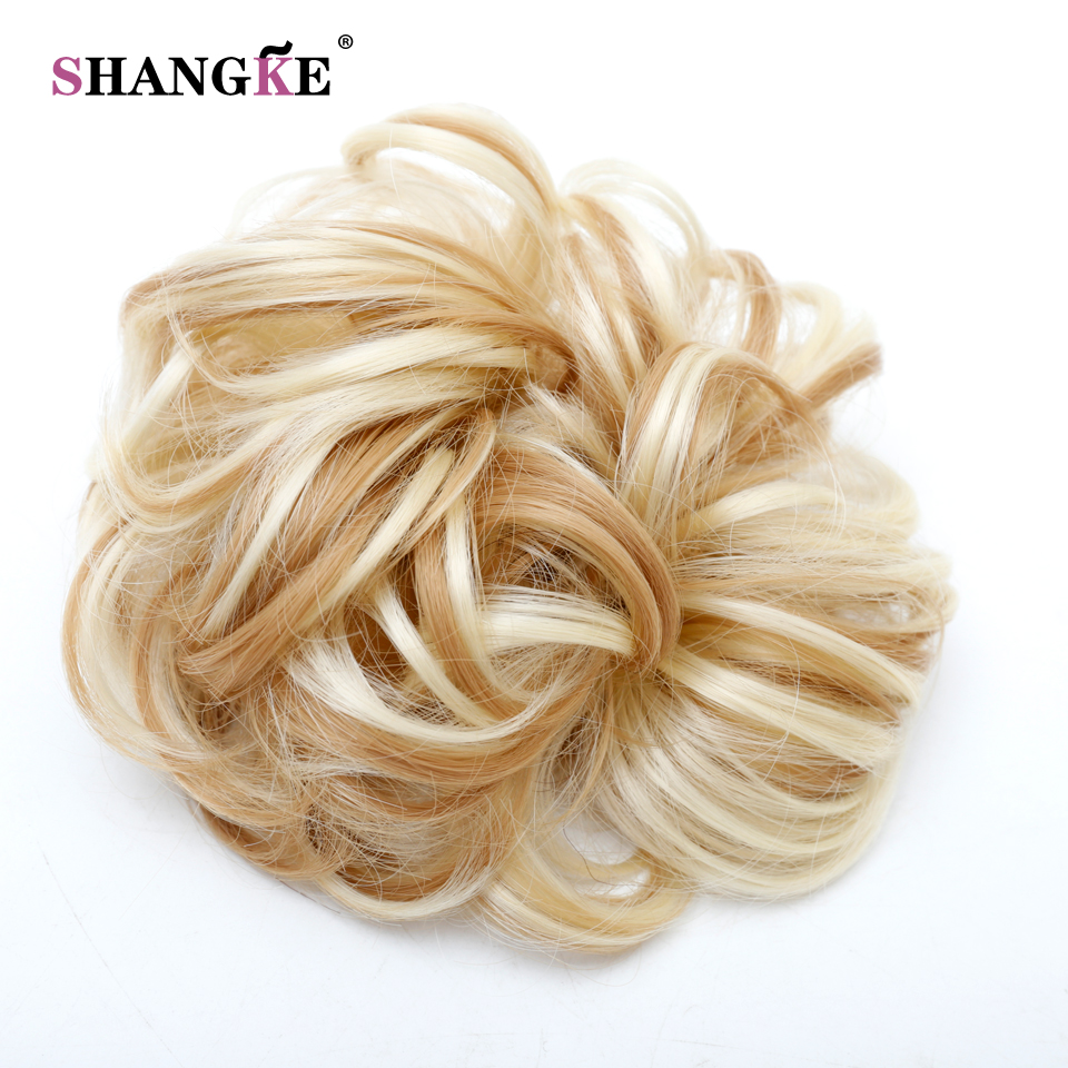 Shangke Women S Curly Scrunchie Chignon With Rubber Band