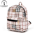 women plaid leather kanken backpack classic small minimalist school bags for teenagers girls  sac a dos femme feminine backpack