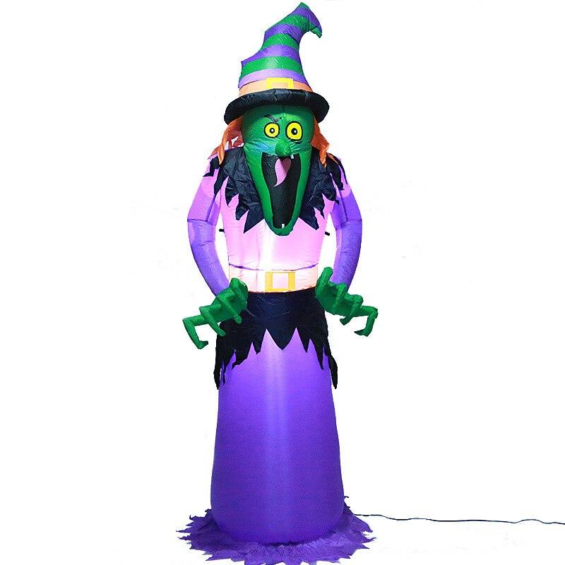 2.4 M géant sorcière Zombie Halloween décoration LED éclairé gonflable Grim Reaper scène Bar effrayant décorations Halloween fête Prop