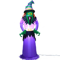 2.4M Giant Witch Zombie Halloween Decoration LED Lighted Inflatable Grim Reaper Stage Bar Scary Decorations Holloween Party Prop