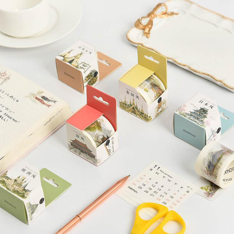 1 Pcs Cute Famous Countries Building Architecture Travel Washi Masking Tapes Decorative Scrapbooking Label Stickers Stationery