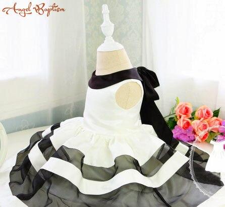 Coréen style casual Bébé Robe De Soirée avec des Rayures Noires et Blanches Bambin Fille 1 an anniversaire robe Robe Nouveau-Né Fille Robe