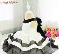Korean Basic Style Baby Party Dress with Black and White Stripes Toddler Girl 1 year birthday dress Dress Newborn Girl Dress