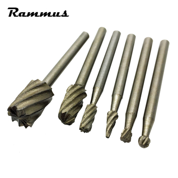 6pcs/set Mini Drill Woodworking Hand Tools Router Bits Wood Carving Drilling Cutting Bits DIY Model Electric Rotary Tool cutting tool