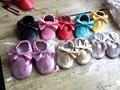 2015 новый 100% Натуральная Кожа Малышей детские мокасины кисточкой лук и fringe детская обувь Сначала Ходунки противоскользящие Младенческой обувь