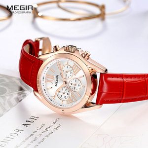 Image 3 - Megir 女性のカジュアルクォーツレッド腕時計クロノグラフレザーストラップビジネスの腕時計 relogios feminiinos 時計 2114