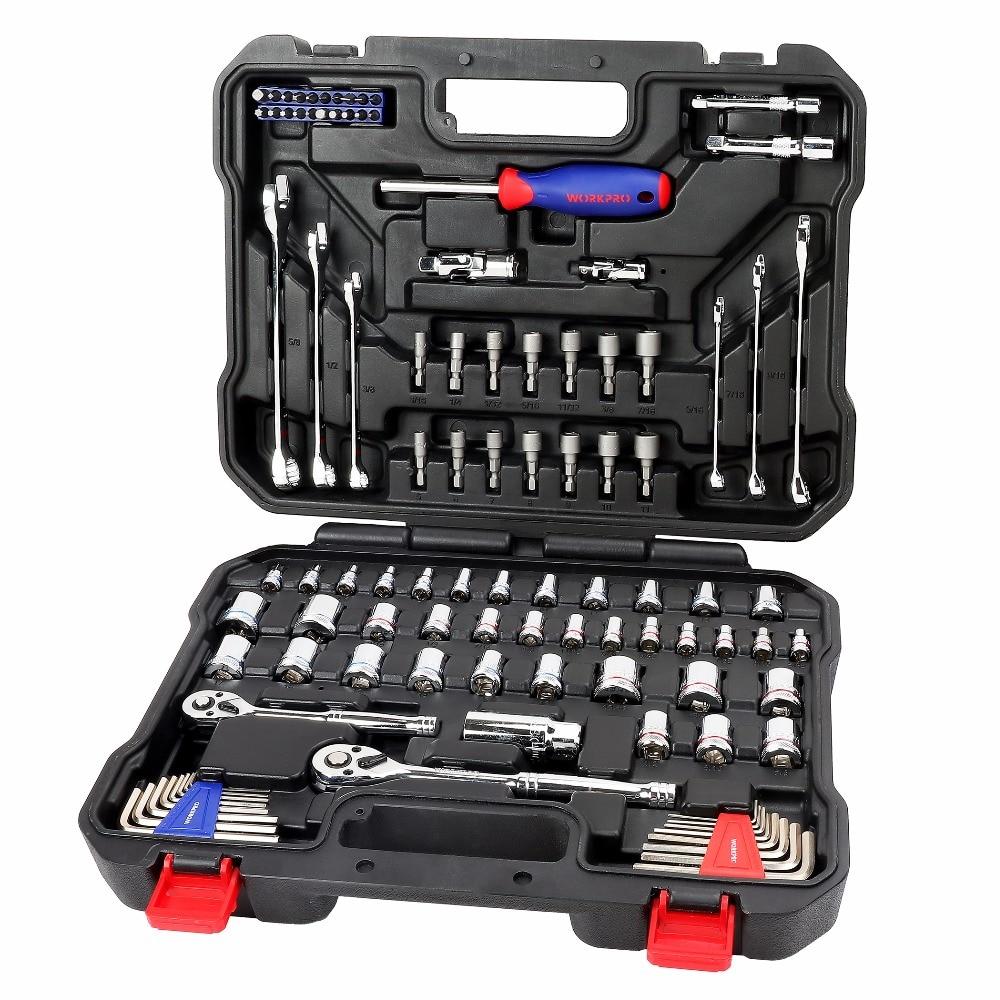 Outils de réparation de voiture WORKPRO ensemble d'outils de mécanicien ensemble de douilles outils pour tournevis automobiles métrique SAE clé à cliquet outils à main