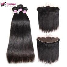 Funmi индийские прямые волосы пучки с фронтальным девственные человеческие волосы ухо к уху предварительно Lucked Кружева Фронтальная застежка с пучками