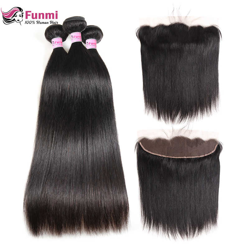 Funmi Indian Straight Hair Bundles With Frontal 100% Virgin Human Hair Ear To Ear Pre Lucked Lace Frontal Closure With Bundles
