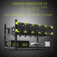 Высокопроизводительный Veddha V3C6 GPU Ферма для майнинга алюминиевый сплав Штабелируемый чехол до 6 GPU открытая воздушная рама Кронштейн