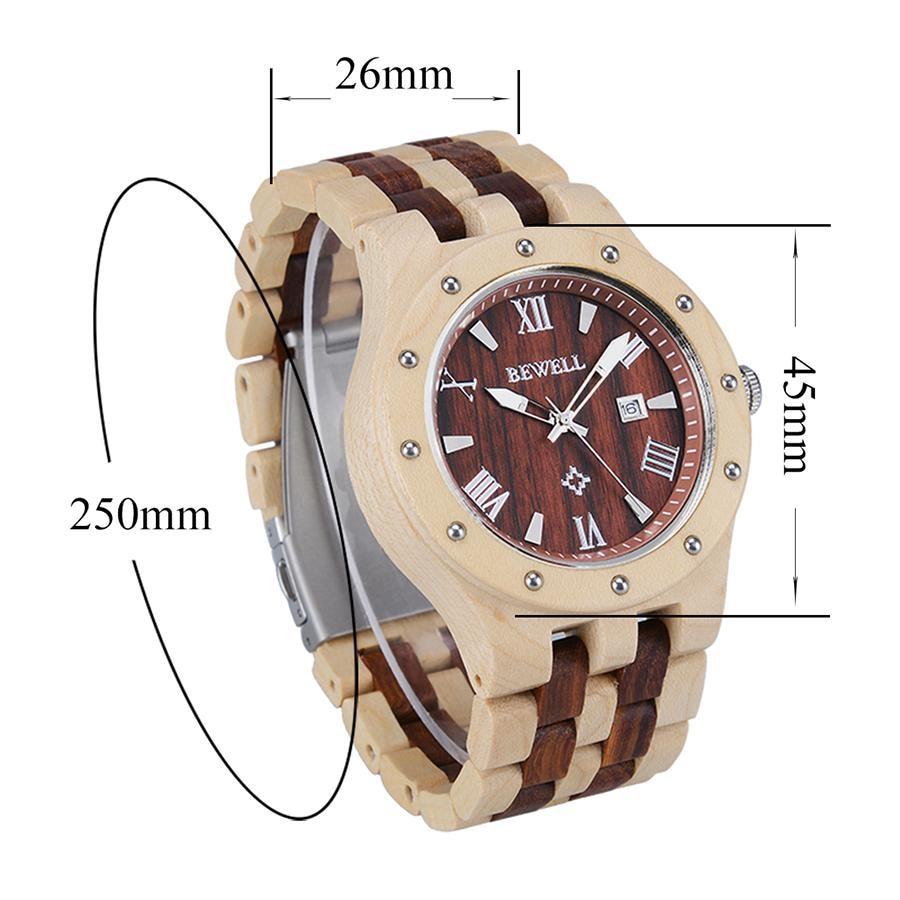 BEWELL dernière montre en bois naturel visage rond bracelet en bois japon mouvement montre à Quartz avec calendrier hommes montres dans la boîte-cadeau 109A - 5