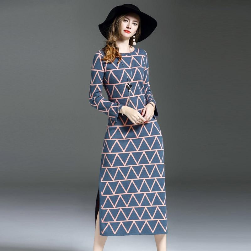 High-end Quality European Station Runway 2017 Autumn New Geometric Color Knit Dress Split Loose Sweater Dress Blue Black M-XL