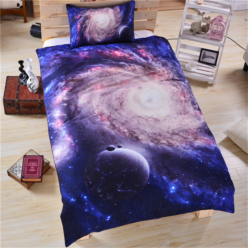 3d galaxy bedding sets moon star duvet cover pillowcases for Outer space bedding