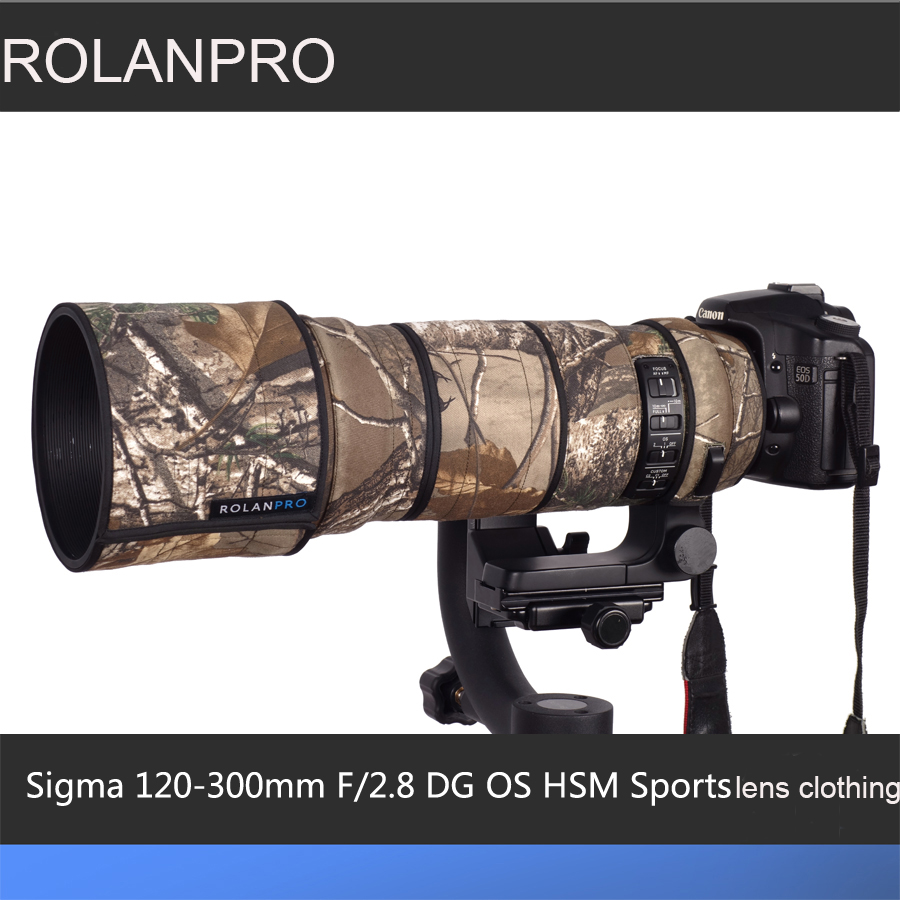 ROLANPRO Lens Camouflage Rain Cover for Sigma 120-300mm F/2.8 OS Sports Lens Protective Case Guns Clothing SLR Cotton Clothing new sigma sports 120 300mm f 2 8 dg os hsm lens for nikon