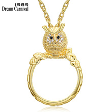 DreamCarnival 1989 Long Chain Necklaces lovely Crystals owlPendant Rhodium Gold Color Gift for Mother Collier Bijoux
