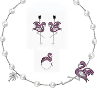 Very Girl Brand Luxury Unique Women Cubic Zirconia Flamingo Necklace Earring Ring Party Costume Jewelry Set