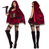 Adult Womens Sexy Little Red Riding Hood Costume Erotic Assassin Outfit Fetish Fancy Dress
